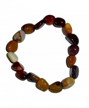 1pc Mookaite Jasper Premium Quality Tumbled Stones Crystal Healing Gemstone 6-8 Mm Nugget Beaded Stretch Bracelet - C012BF6PGHB