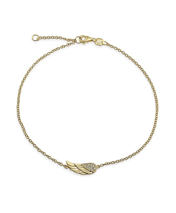Gold Plated CZ Angel Wing Feather Anklet 925 Silver 9in - CK11K3BVYXF