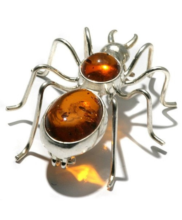 Honey Amber Sterling Silver Spider Pin - CG111A4GKXR
