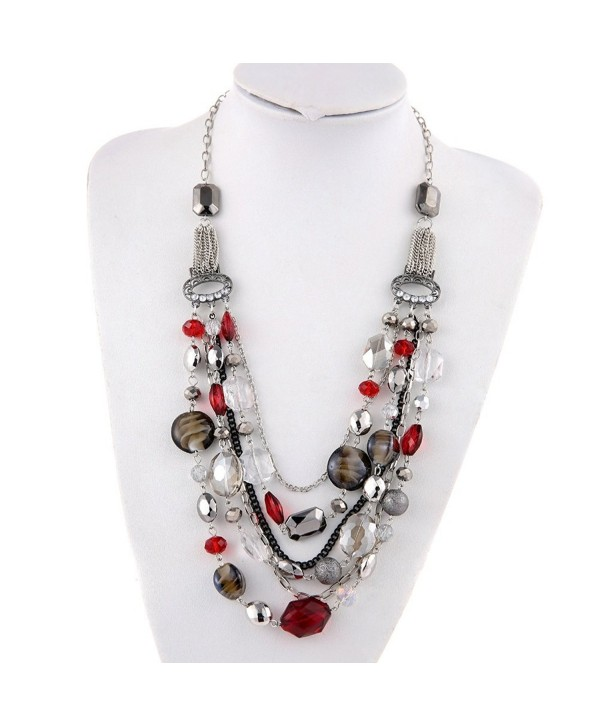 BOCAR Newest Multi Layer Chain Crystal Colored Glaze Statement Women Necklace - red - CL12MSMISJT