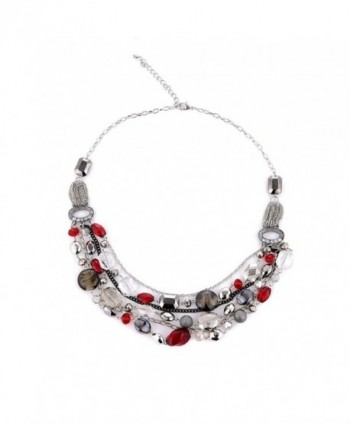 Crystal Colored Statement Necklace NK 10061 red