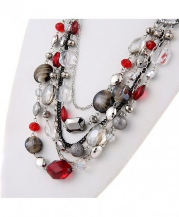 Crystal Colored Statement Necklace NK 10061 red in Women's Collar Necklaces