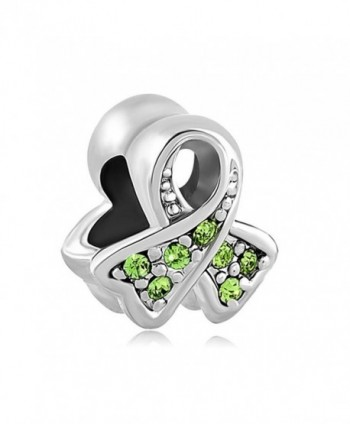 ThirdTimeCharm BreaSt Cancer Awareness Ribbon Charm European Bead with Light Green Crystals - CY12OI1JYKC