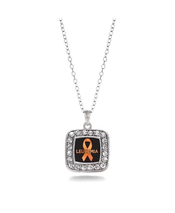 Leukemia Awareness Classic Silver Plated Square Crystal Necklace - C911KEPG5YD