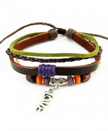 Wild Wind (TM) Multi-Strand Mixed Tone Braided Adjustable Leather Love Wrap Bracelet - CK1215H8OKL