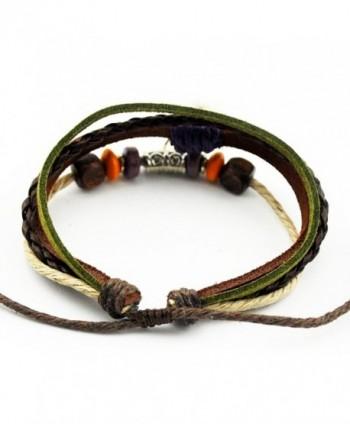Multi Strand Braided Adjustable Leather Bracelet in Women's Wrap Bracelets