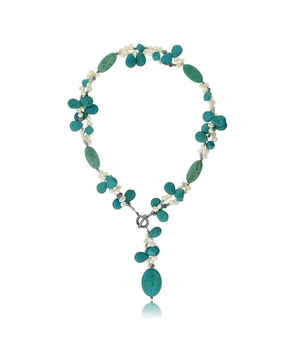 "24"" Simulated Turquoise Color & White Cultured Freshwater Pearl Necklace with Toggle Hook - CT117A0BZ0N"