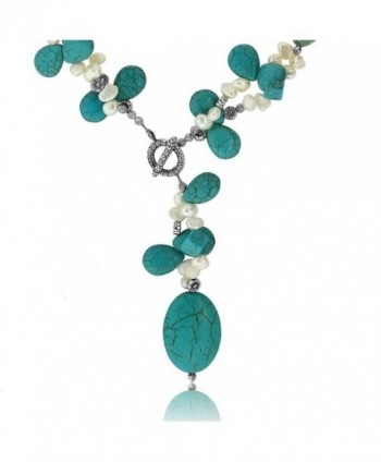 Simulated Turquoise Cultured Freshwater Necklace in Women's Pearl Strand Necklaces
