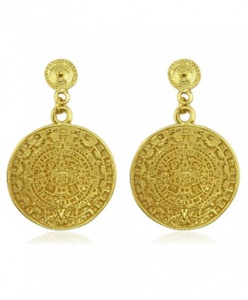 Aztec Calendar Dangle Earrings - CF11F4Z03OV