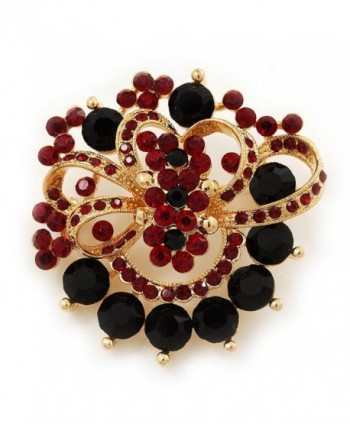 Burgundy Red & Jet-Black Diamante Corsage Brooch In Gold Plating - 5cm Diameter - C1110DGQ0NT