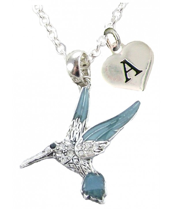 Custom Blue Green Hummingbird Silver Necklace Jewelry Choose Initial 26 letters available - CK182SGD85Q