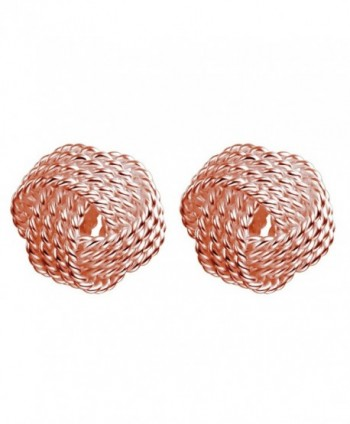 YAN & LEI Sterling Silver Classic Twisted Love Knot Stud Earrings - Rose Golden - CG12N33EI3G