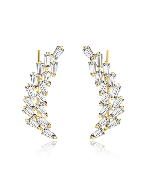 Mevecco Womens Ear Crawler Climber CZ Crystal Ear Wrap Cuffs Earrings Sweep Stud Earring Pin Jewelry - Gold - CO186E8DNAL