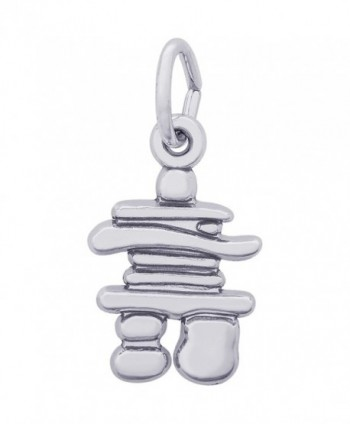 Rembrandt Charms Sterling Silver Inukshuk Accent Charm on a 16- 18 or 20 inch Rope- Box or Curb Chain Necklace - CE185QH3GKT