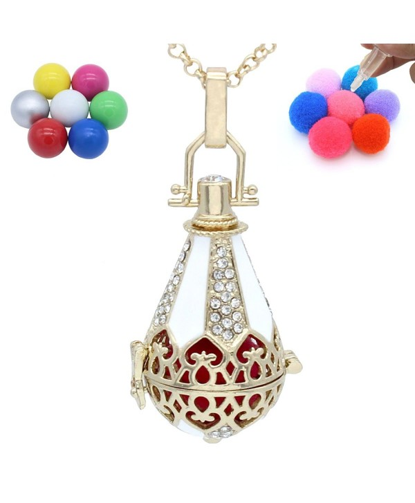 Copper Cone Water Drop Teardrop Flower Rhinestone Locket Necklace Aromatherapy Oil Fragrance Diffuser - CN124HVROD5