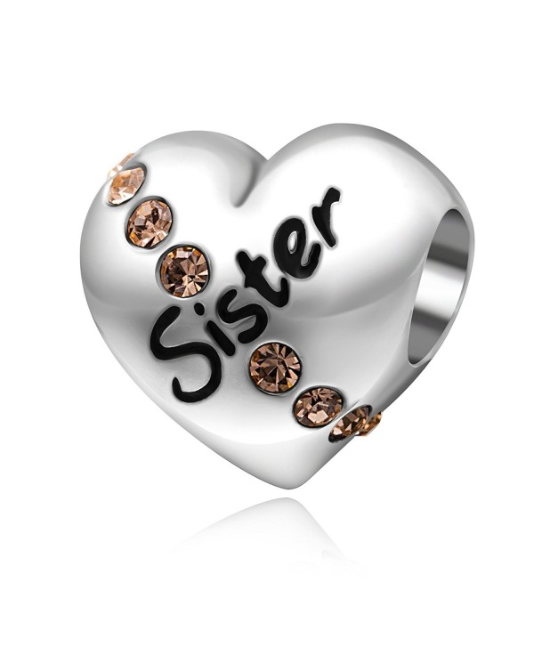 Love Heart Sister Birthday Gifts 925 Sterling Silver Charms for Charms Bracelet - CZ17YU4OT6X
