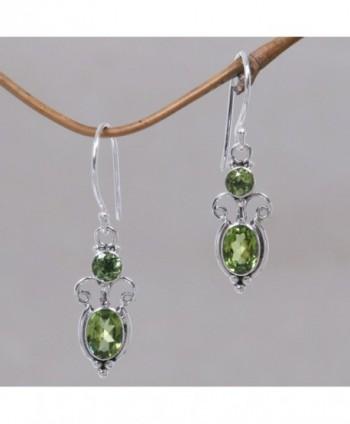 NOVICA Peridot Sterling Earrings Princess in Women's Drop & Dangle Earrings