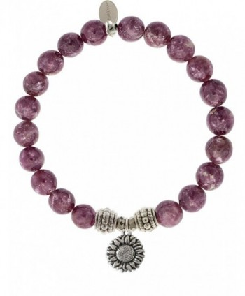EvaDane Natural Lepidolite Gemstone Rope Bead Sunflower Charm Stretch Bracelet - CJ12KAWSO6Z