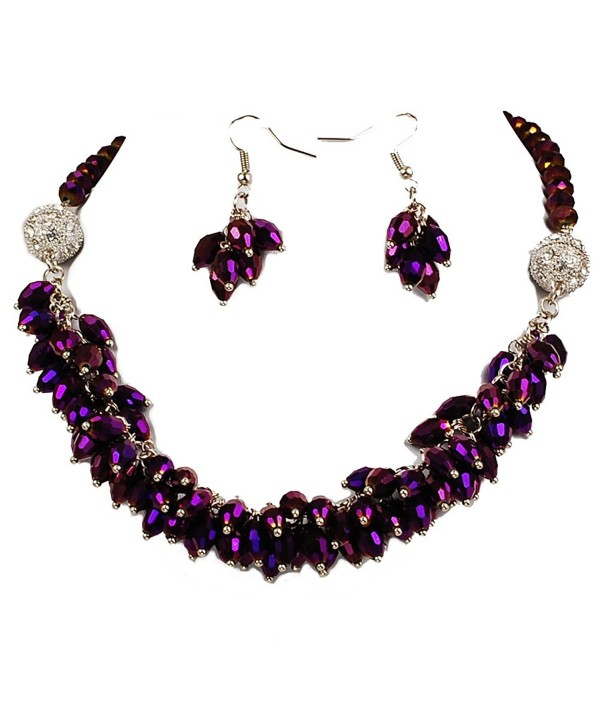 "Crystal teardrop Fashion Necklace & Earring set 18"" Multi-colors - Dark Purple - C0184IL679K"