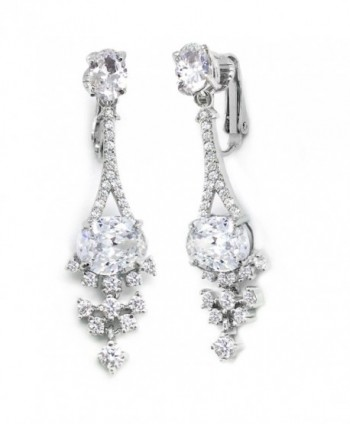 Sparkly Bride CZ Clip on Earrings Cluster Rhodium Plated Women Fashion Long 1.75 inches - CP11WRJMLJH