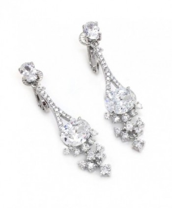 Sparkly Bride Earrings Cluster Rhodium