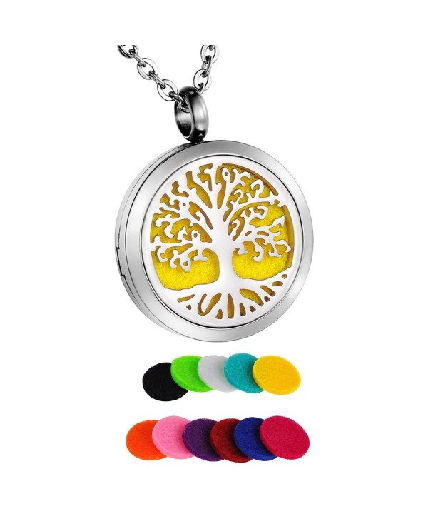 "HooAMI Aromatherapy Essential Oil Diffuser Necklace - Tree of Life Round Pendant Locket - "" Velvet Bag "" - C912MFUUGR1"
