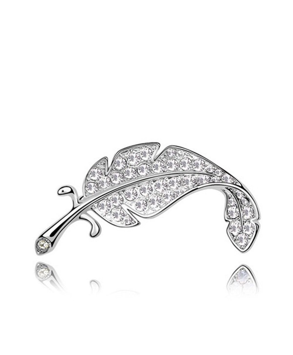 Best Gift Swarovski Elements Crystal Feather Leaf Mini Cute Brooch Pin - Clear - CT11DHLNQCZ