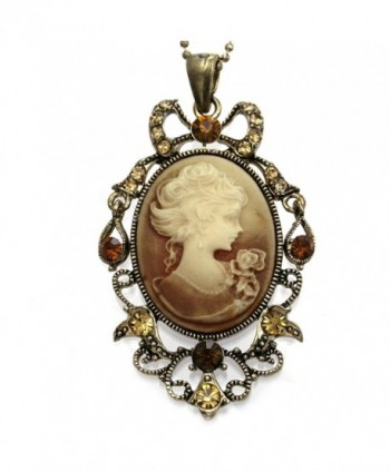 Light Brown Cameo Pendant Necklace Chain Charm Women Fashion Jewelry - C8118ZKRV7T
