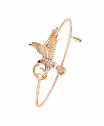 NOUMANDA Rose Gold Silver Plated Animal Eagle Charm Open Cuff Bangle Bracelet for Women - rose gold - CI12HS7IO2P