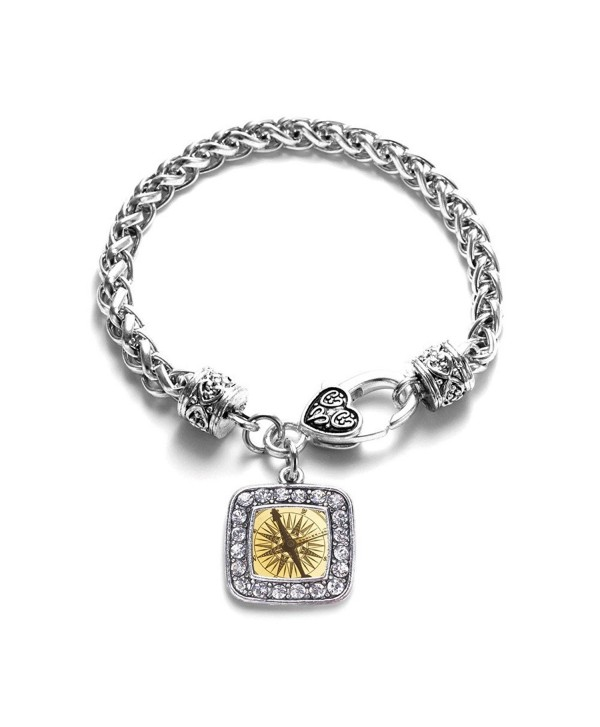 Vintage Compass Classic Braided Classic Silver Plated Square Crystal Charm Bracelet - CR11XMU48R3