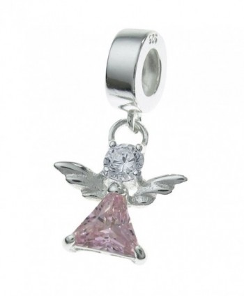 925 Sterling Silver Little Guardian Angel Cz Crystal Dangle Bead Fits European Charm Bracelet - CO11ZV13JC1