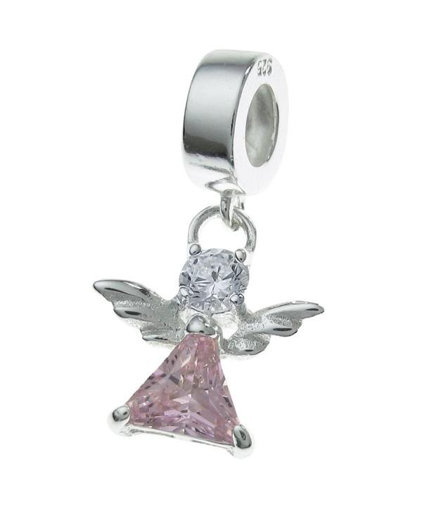 925 Sterling Silver Little Guardian Angel Cz Crystal Dangle Bead Fits European Charm Bracelet - CO11ZV13JC1