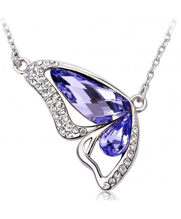 Infinite U Austrian Crystal Silver Plated Butterfly Wing Teardrop Pendant Necklace for Women Girls - purple - CZ11VY5VJ2F