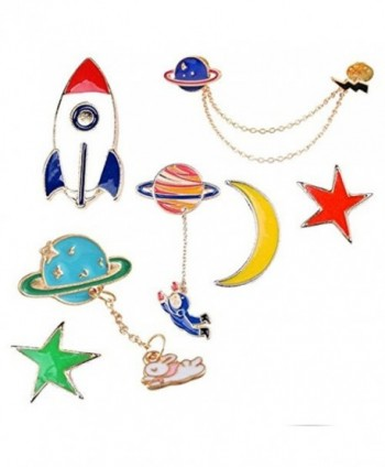 MJARTORIA Astronaut Spacecraft Moon Stars Novelty Cartoon Enamel Brooch Pin Set - CD182TGRR0Q