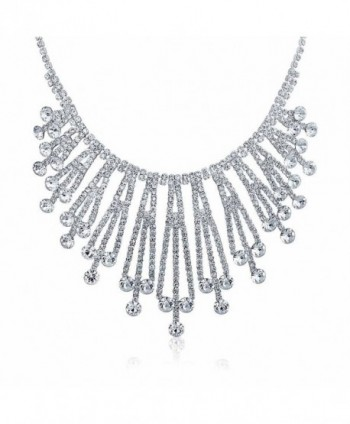 Bling Jewelry Art Deco Style Bridal Crystal Choker Silver Plated Necklace 15 Inches - CH11Y76NY5X