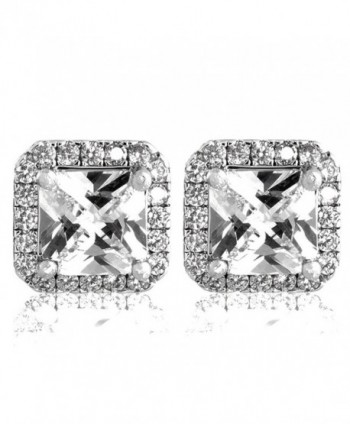 Pop Fashion 18k White Gold- Princess Cut- Cubic Zirconia- Bridal- Halo- Silver Stud Earrings - CT17Y7C9T2Z
