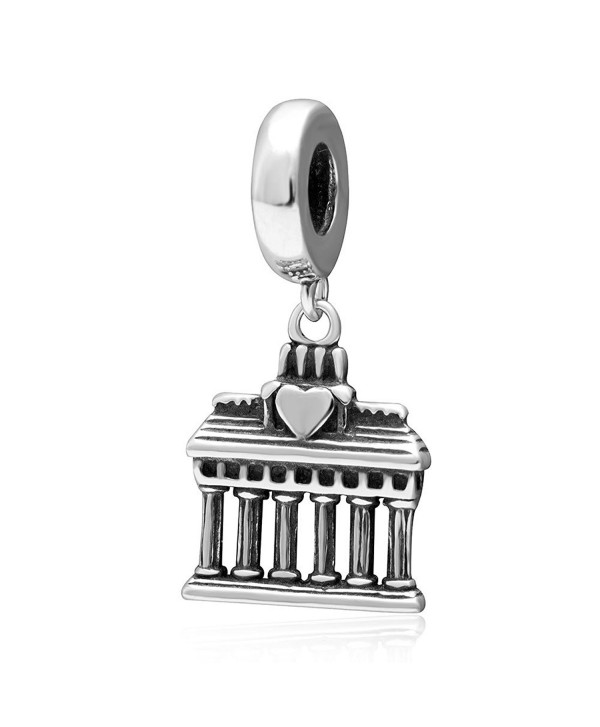 Choruslove Greek Parthenon Temple Pendant Charm 925 Sterling Silver for European Brand Bracelet - CR182HU9LRC
