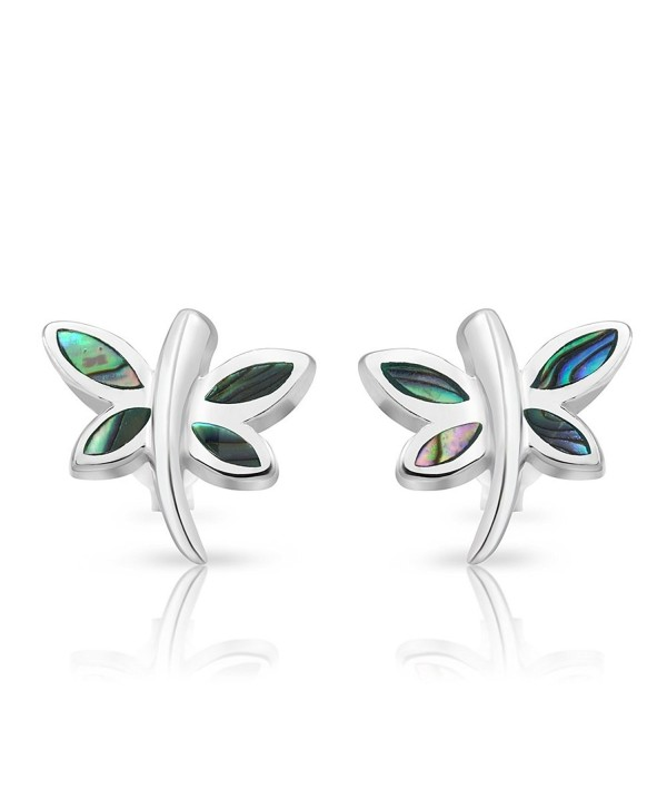 925 Sterling Silver Abalone Shell Dragonfly Stud Earrings - C611OTECVOD