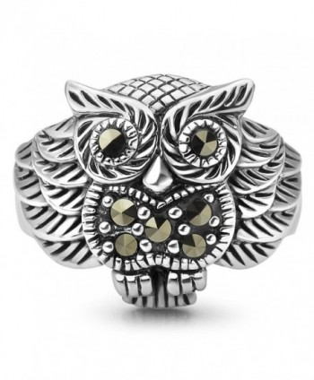 925 Oxidized Sterling Silver Owl Bird Marcasite Band Ring Women Jewelry Size 6- 7- 8 - C01267R6LEZ