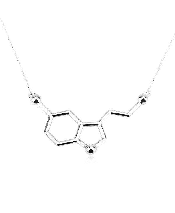 Art Attack Silvertone Serotonin Hormone Molecule DNA Chemistry Science Party Pendant Necklace - CF12HAL4QAL