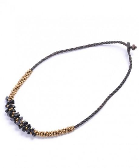 81stgeneration Women's Brass Gold Tone Simulated Black Onyx Bead Necklace- 42 cm - CD1141I8925