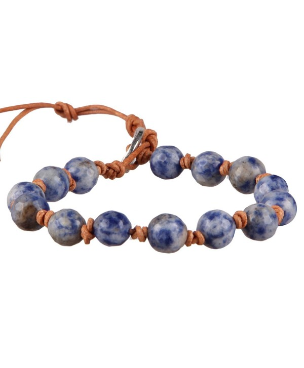 KELITCH Created-Turquoise- Pyrite- Mother-of-pearl- Sodalite Stone Beads Leather Cuff Bracelets - Sodalite - CP12K1ZF1GX