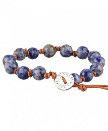 KELITCH Natural Sodalite Leather Bracelet