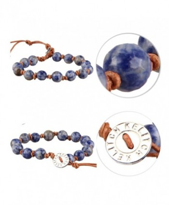 KELITCH Natural Sodalite Leather Bracelet in Women's Wrap Bracelets