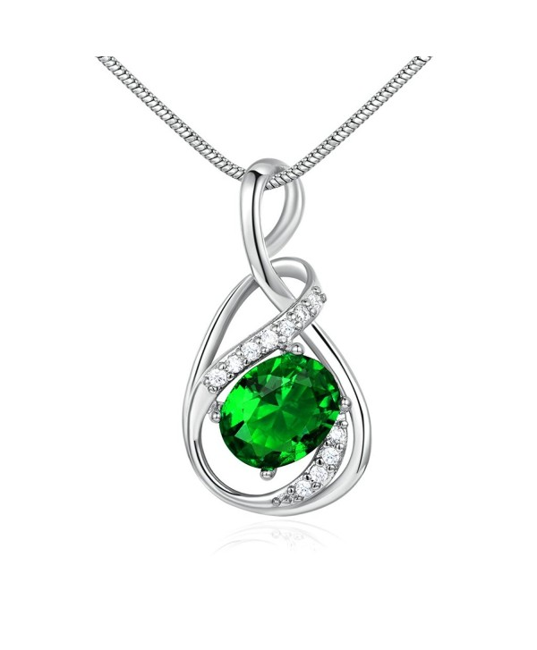 GUICX Silver Tone/Yellow Gold Tone Emerald Color CZ Cubic Zirconia Charm Necklaces Pendant - CZ11ZS2OPV7