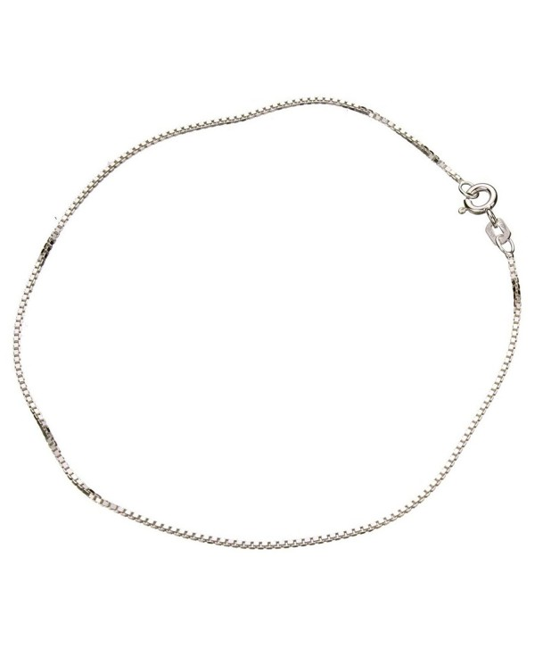 Sterling Silver 1.1mm Box Link Nickel Free Chain Anklet Italy - CB11HVU5S7J