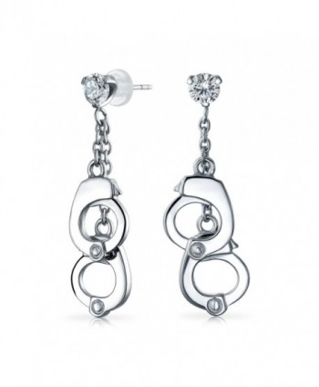 Bling Jewelry Secret Shades 316L Steel Clear CZ Handcuffs Dangle Earrings - CK11IVXHR1Z