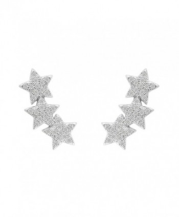 EVER FAITH 925 Sterling Silver Cubic Zirconia Shooting Stars Design Ear Cuff Stud Earrings Clear 1 Pair - CC129RLEZMD