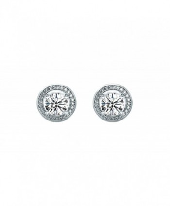 Women 6mm Round Cubic Zirconia Halo Stud Earrings - CK128Z3CK9T