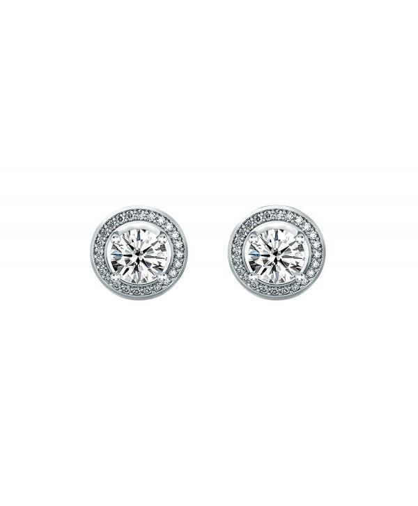 Women 6mm Round Cubic Zirconia Halo Stud Earrings - CK128Z3CK9T